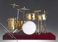 Miniature Gold Colored 9 Piece Drum Set for Dollhouses