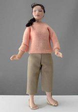Woman Doll in Pink Sweater by Cindy's Dolls
