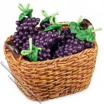 Miniature Bushel of Fresh Grapes for Dollhouses
