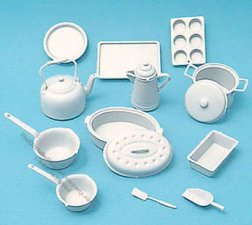 Miniature White Cookware Kit for Dollhouses