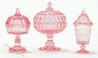 Miniature Pink Candy Dishes For Dollhouses