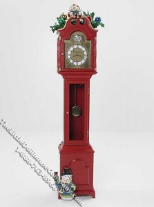 Miniature Christmas Themed Grandfather Clock for Dollhouses
