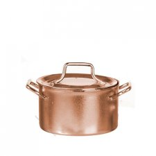 Miniature Large Copper Pot with Lid For Dollhouses
