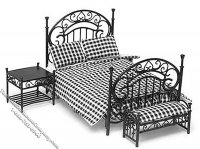 Miniature Black & White 3pc Bedroom Set for Dollhouses