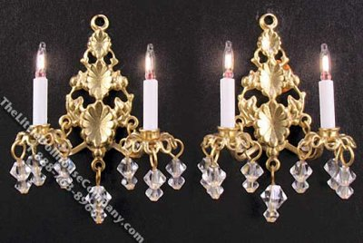 Miniature Pair of 12v Princess Abigail Sconces