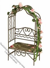 Miniature Wire Garden Arbour w/Cushion for Dollhouses