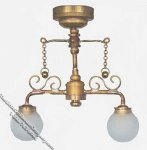 Miniature Battery Operated Brass Ceiling Light for Dollhouses