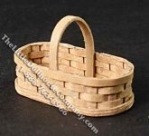 Miniature Oval Basket with Handle for Dollhouses