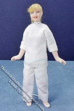 Miniature Blond Woman in White by Cindy's Dolls