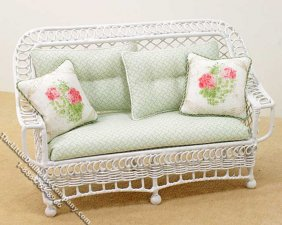 Miniature Metal White Settee w/Green Cushions for Dollhouses