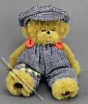 Dollhouse Scale Model Bear in Hat and Overalls