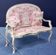 Miniature White Bench with Two Pillows for Dollhouses