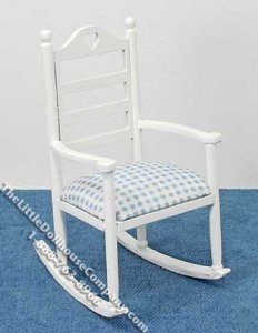 Miniature White Rocking Chair with Blue Seat for Dollhouses