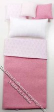 Miniature Pink Single Bedsheets & Pillows by Designs by Janet