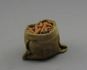 Dollhouse Scale Model Sack of Carrots