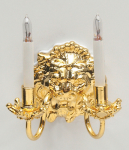 Lion Double Candle Wall Sconce with Bi-Pin Bulbs