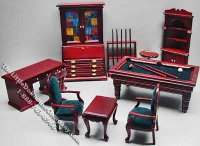 Miniature Ten Piece Game Room Set for Dollhouses