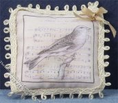 Miniature Pillow with Bird & Music Pattern for Dollhouses