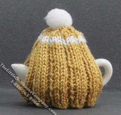 Dollhouse Scale Model White Teapot with Ochre Tea Cozy
