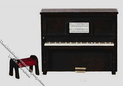 Miniature Black Upright Piano with music & Bench for Dollhouses