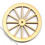 "Miniature 1-1/2"" Birch Laser Cut Spoke Wheel for Dollhouses"