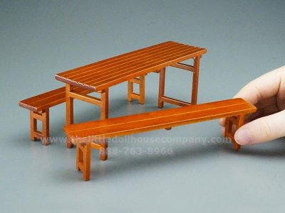 Miniature Outdoor Table and Benches for Dollhouses