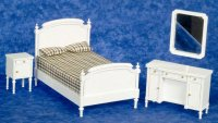 Dollhouse Miniature Bedroom Set - White