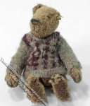 Miniature Victorian Teddy Bear in a Sweater for Dollhouses