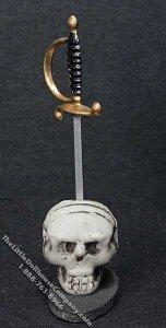 Miniature Sword in the Skull Halloween Decoration for Dollhouses