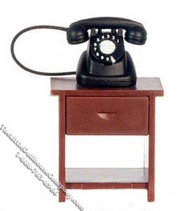 Miniature Short Telephone Table with Phone for Dollhouses