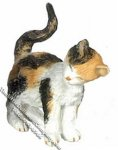 Dollhouse Scale Model Calico Cat Rubbing Left Side