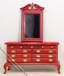 Miniature Mahogany Dresser w/Mirror for Dollhouses