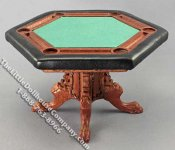 Miniature Walnut Finish Poker Table for Dollhouses