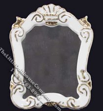 Miniature Classic White Baroque Mirror for Dollhouses