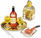 Dollhouse Scale Model Evening Cognac Set