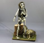 Dollhouse Miniature Man and Dino Skeleton