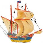 Miniature Blue & Yellow Galleon Ship Model for Dollhouses