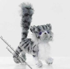 Dollhouse Scale Model Standing Gray White & Black Stripes Cat
