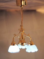 Dollhouse Scale Model Battery Operated 3-Arm Ceiling Light