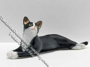 Dollhouse Scale Model Black & White Cat Laying Out