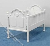 Miniature White Crib with Blue Linen for Dollhouses