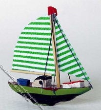 Miniature Green Sailboat Model for Dollhouses