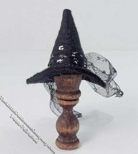 Black Witch Style Hat on Stand by Bette Jo Chudy for Dollhouses