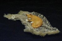 Dollhouse Scale Model Naughty Kitty on Throw by Janet