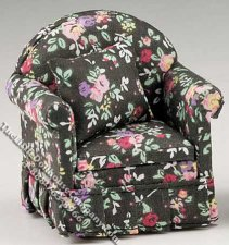 Miniature Black Chair w/Floral Pattern and Pillow for Dollhouses