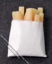 Miniature Fries in Paper Bag for Dollhouses