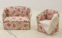 "1/2"" Scale Flower Pattern Sofa & Chair Set for Dollhouses"