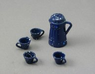 Dollhouse Scale Model Blue Enamelware Coffee Set