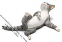 Dollhouse Scale Model Gray & White Cat Reclining