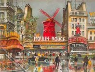 Moulin Rouge Scene Miniature Mural for Dollhouses